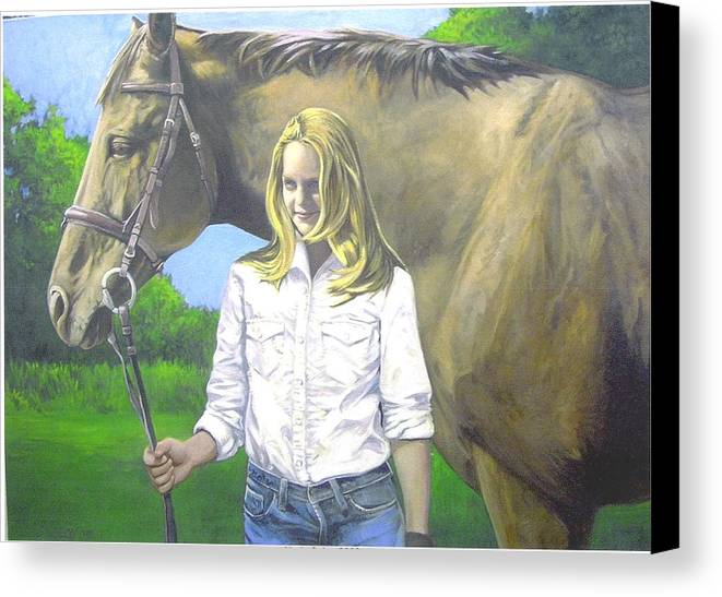 Portrait Canvas Print featuring the painting Alyssa And Joe by Steve Greco