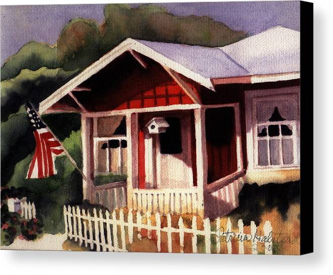 Watercolor Canvas Print featuring the painting American Home by Patricia Halstead