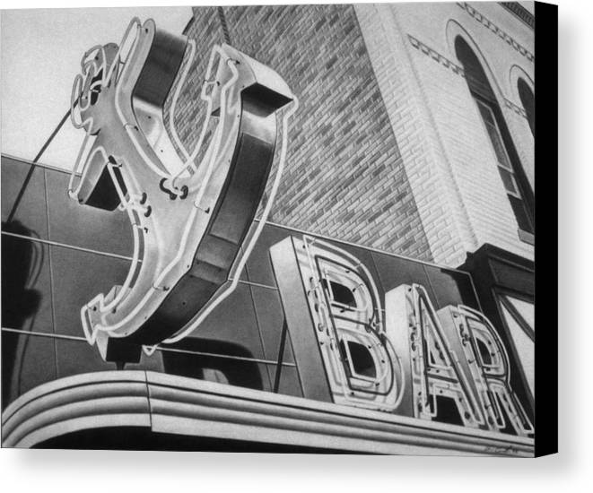 Sign Canvas Print featuring the drawing Anchor Bar by Van Cordle