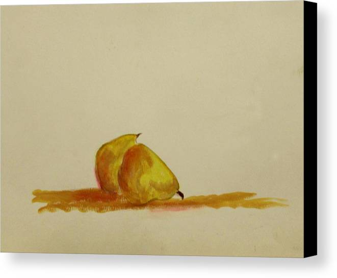 Fruit Canvas Print featuring the painting Anjou Pears by Michela Akers