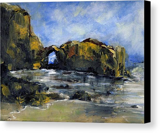 Beach Canvas Print featuring the painting Arch At Pearl Beach Over Cast by Randy Sprout