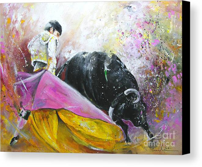 Bullfight Canvas Print featuring the painting Battle Joined by Miki De Goodaboom