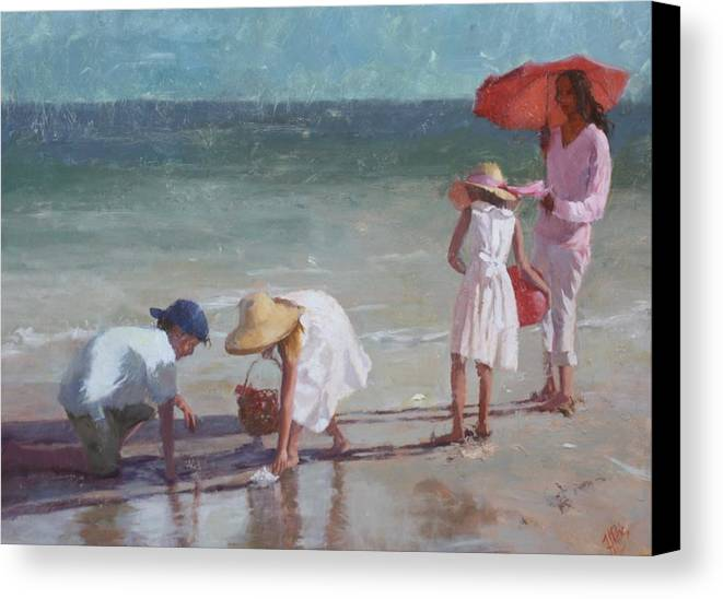 Figure Canvas Print featuring the painting Beach Treasure by Hope Reis