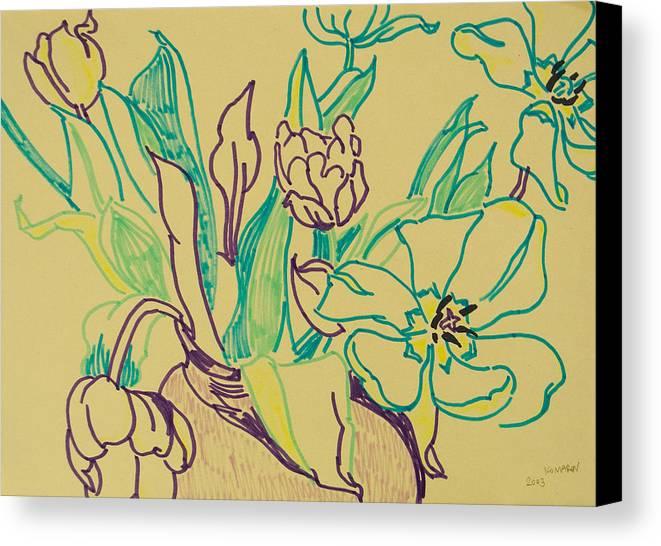 Tulip Canvas Print featuring the drawing Beautiful Tulips by Vitali Komarov