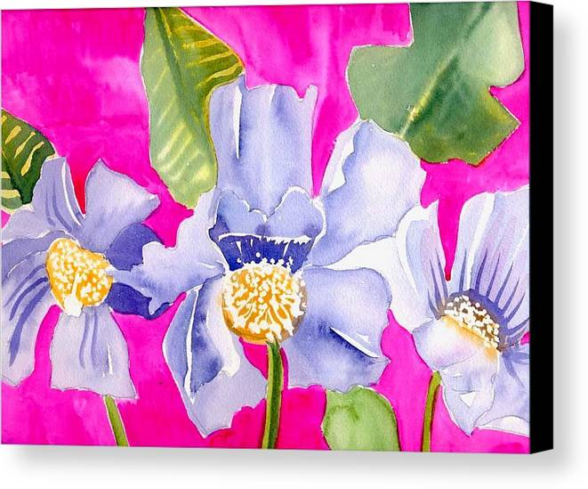 Big Pink Flowers Canvas Print featuring the painting Big Pink Flowers by Janet Doggett