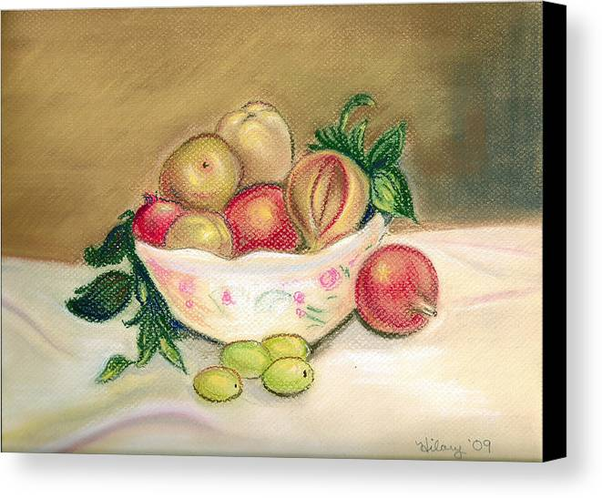 Pastel Impressionist Artwork Painting Renoir Fruit Stilllife Floral Canvas Print featuring the painting Bowl Of Renoir by Hilary England