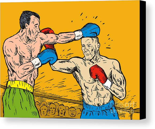 Boxing Canvas Print featuring the digital art Boxer Punching by Aloysius Patrimonio