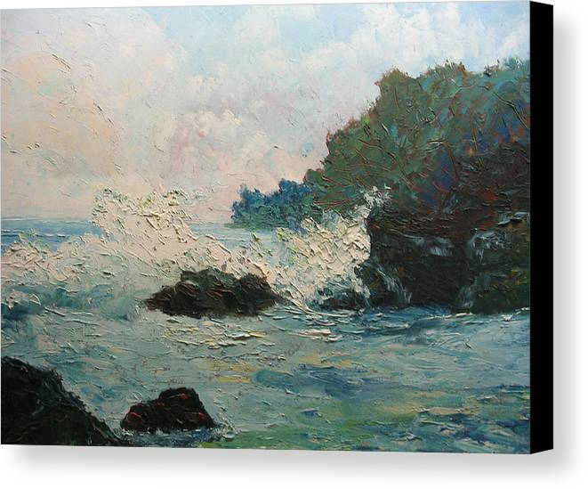 Landscape Canvas Print featuring the painting Breaking Waves - Number One by Belinda Consten
