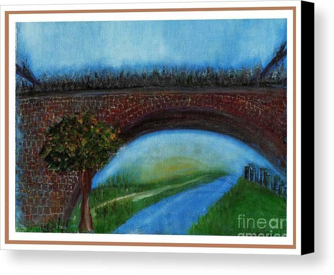 Landscape Canvas Print featuring the painting Bridge March by Corri Johanson