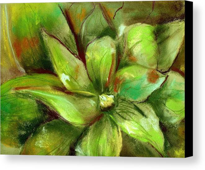 Green Canvas Print featuring the painting Bright Agave by Marilyn Barton