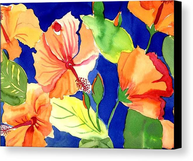 Bright Orange Flowers Floral Canvas Print featuring the painting Bright Orange Flowers by Janet Doggett