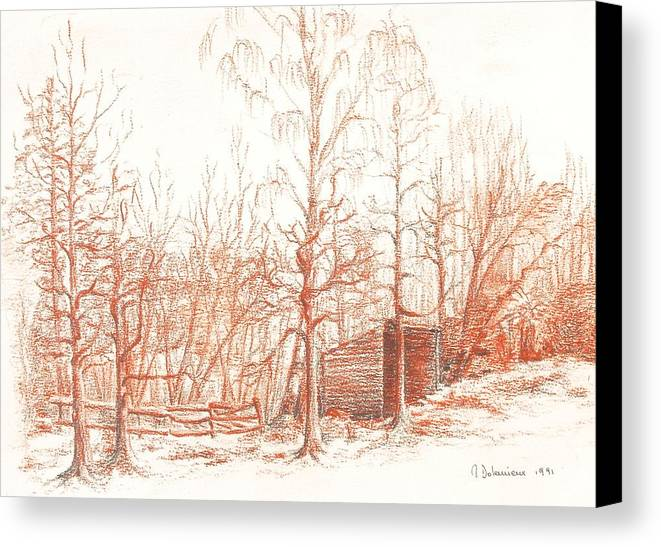 Landscape Canvas Print featuring the drawing Bullion by Muriel Dolemieux