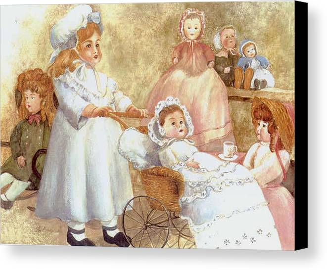 Dolls;toys;antiques;doll Carraige; Canvas Print featuring the print Caroline's Dolls by Lois Mountz