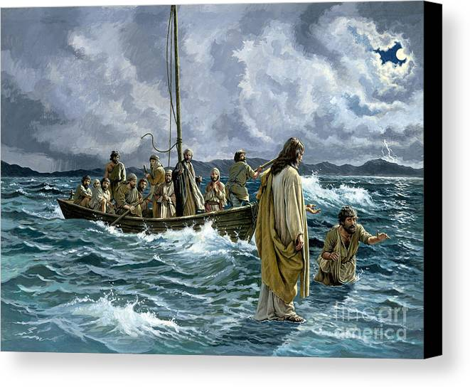 Christ Canvas Print featuring the painting Christ Walking On The Sea Of Galilee by Anonymous