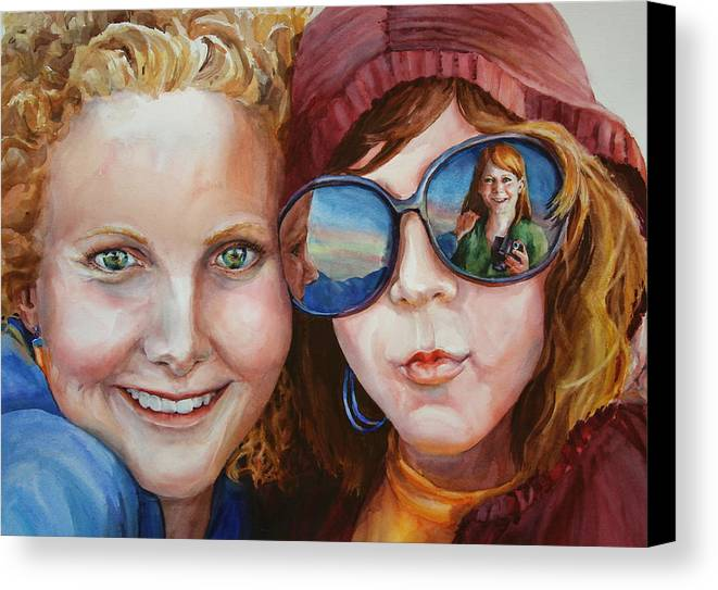 Portrait Canvas Print featuring the painting Circle Of Sisters by Carolyn Epperly