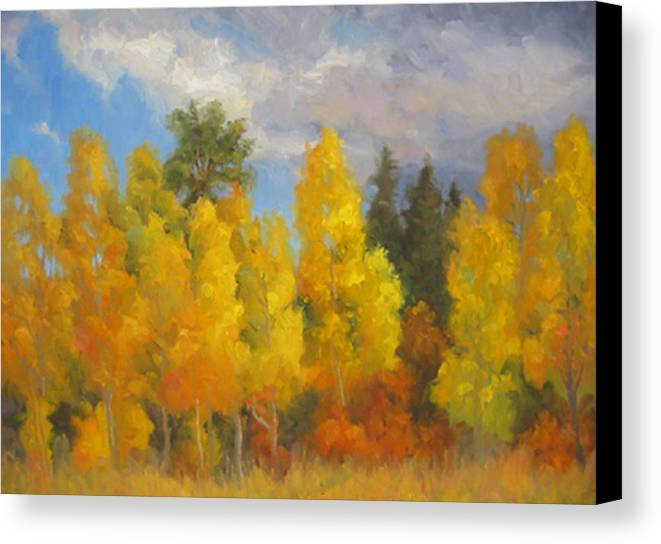 Landscape Canvas Print featuring the painting Clouds Of October by Bunny Oliver