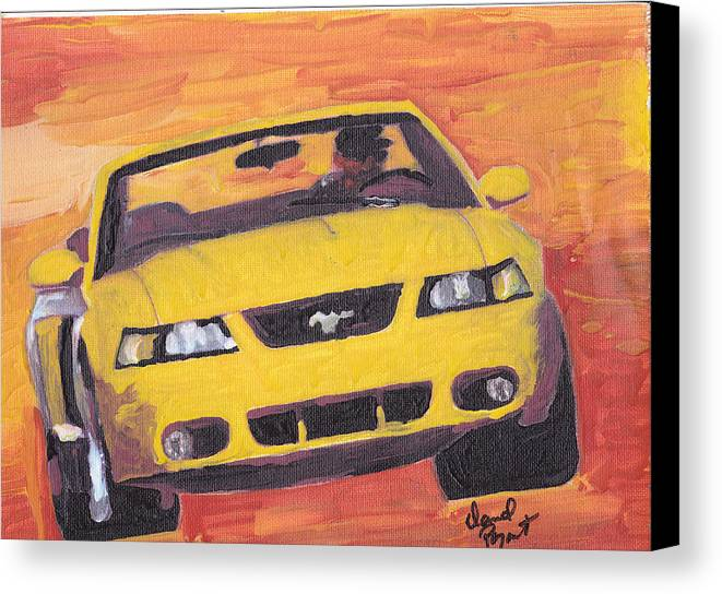 Cobra Canvas Print featuring the painting Cobra Mustang by David Poyant Paintings