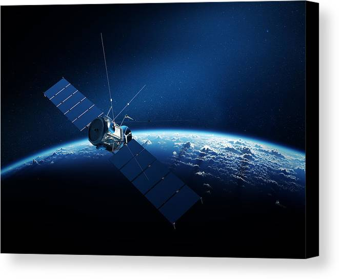 communications satellite orbiting earth canvas print canvas art by