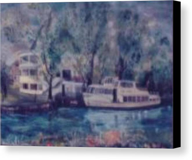 River Cruiseboat On Rhine Germany Swans Canvas Print featuring the painting Cruiseboat On Rhine River Germany by Alfred P Verhoeven