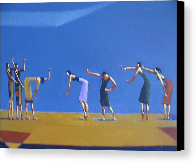 Figure Canvas Print featuring the painting Dancing Figures by Ihab Bishai
