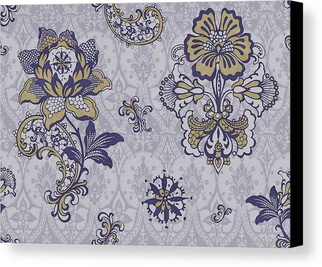 Flowers Canvas Print featuring the painting Deco Flower Blue by JQ Licensing