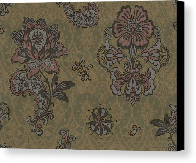 Flowers Canvas Print featuring the painting Deco Flower Brown by JQ Licensing