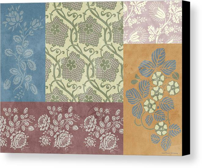 Flowers Canvas Print featuring the painting Deco Flower Patchwork 2 by JQ Licensing