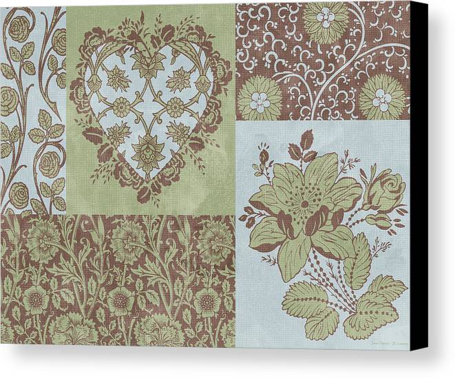 Flowers Canvas Print featuring the painting Deco Heart Sage by JQ Licensing