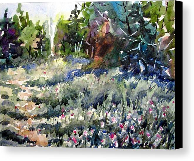 Watercolor Canvas Print featuring the painting Deep In Clover by Chito Gonzaga