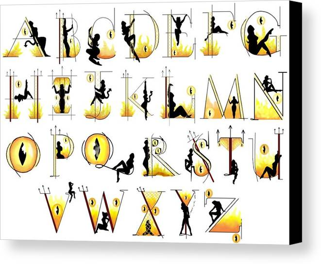 Letters Canvas Print featuring the digital art Devilish Alphabet by Scarlett Royal