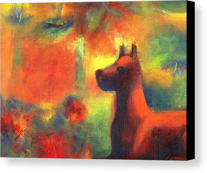 Dogs Canvas Print featuring the painting Dog With Red Flowers by Nato Gomes