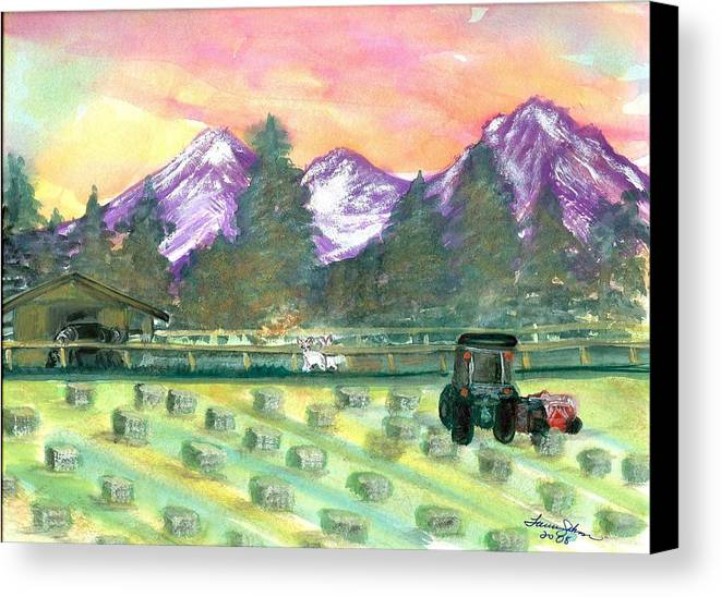 Farmscape Canvas Print featuring the painting Down On The Farm by Laura Johnson