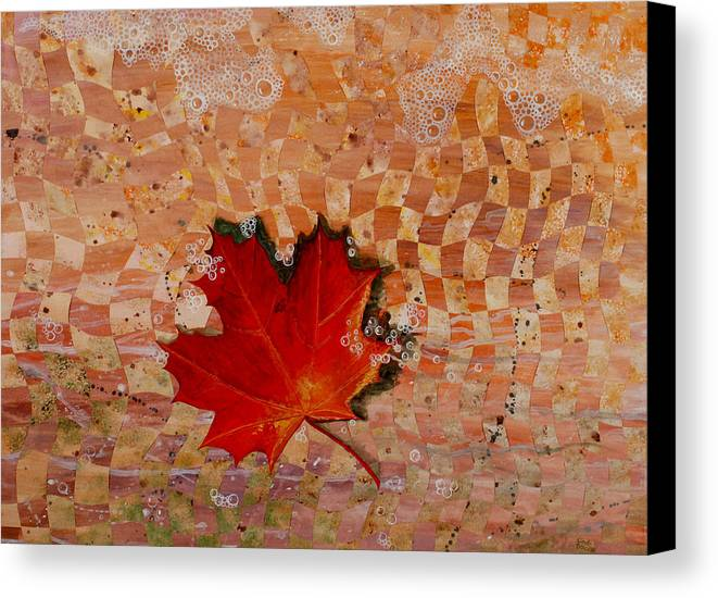 Maple Leave Canvas Print featuring the painting Drifting by Linda L Doucette