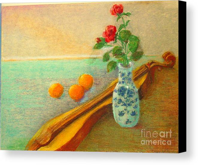 Still Life Canvas Print featuring the painting Dulcimer And Delft    Copyrighted by Kathleen Hoekstra