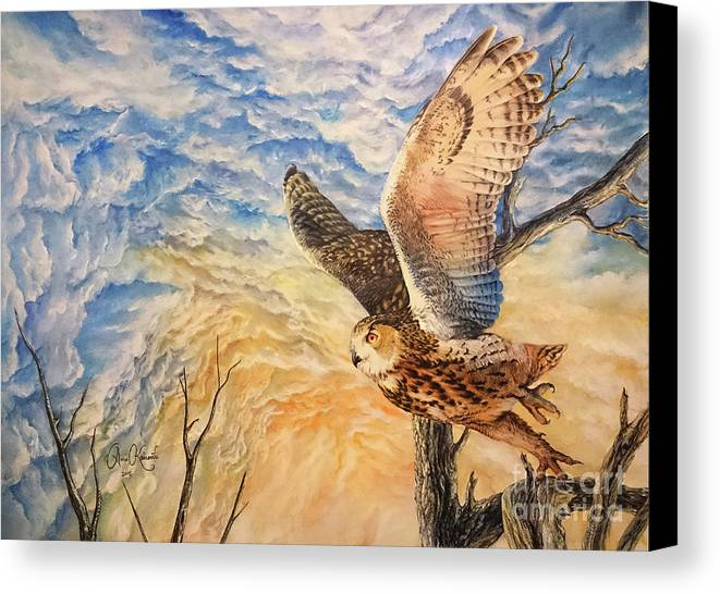 Eagle Owl Canvas Print featuring the painting Eagle Owl by Anne Koivumaki - Fine Art Anne