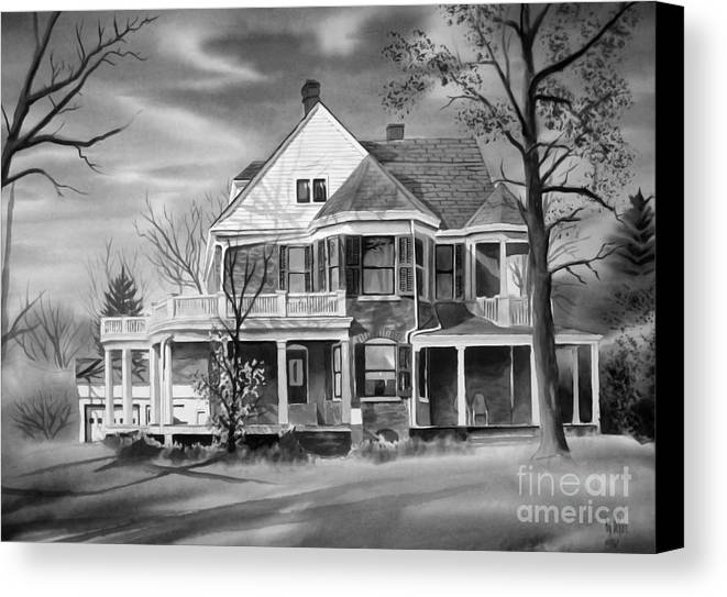 Grayscale Canvas Print featuring the painting Edgar Home Bw by Kip DeVore