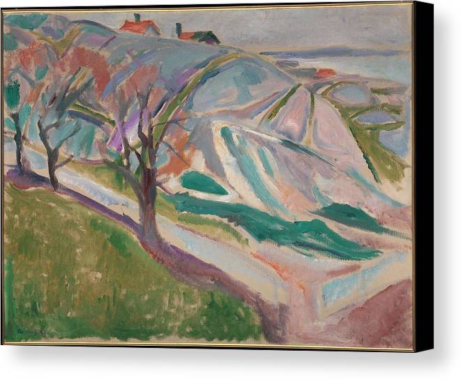 Art Canvas Print featuring the painting Edvard Munch , Landscape, Kragero by Edvard Munch
