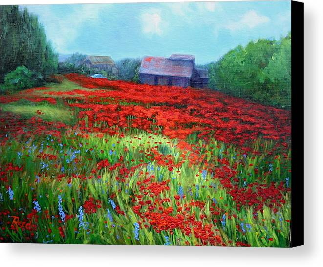 Landscape Canvas Print featuring the painting en route to Arles by Patricia Reed