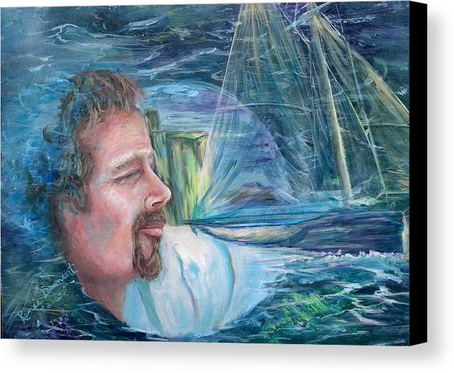 Seascape Canvas Print featuring the painting Envisioned Voyage by Renee Dumont Museum Quality Oil Paintings Dumont