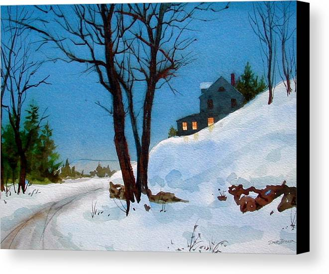 Snow Canvas Print featuring the painting Evening Snow by Faye Ziegler