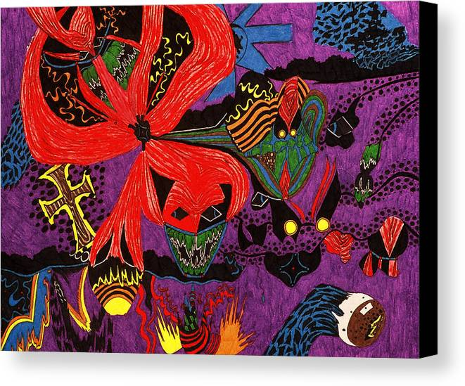 Abstract Canvas Print featuring the print Evil Has A Face by William Watson