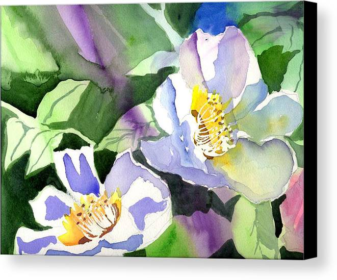 Floral Canvas Print featuring the painting Fancy Flowers by Janet Doggett