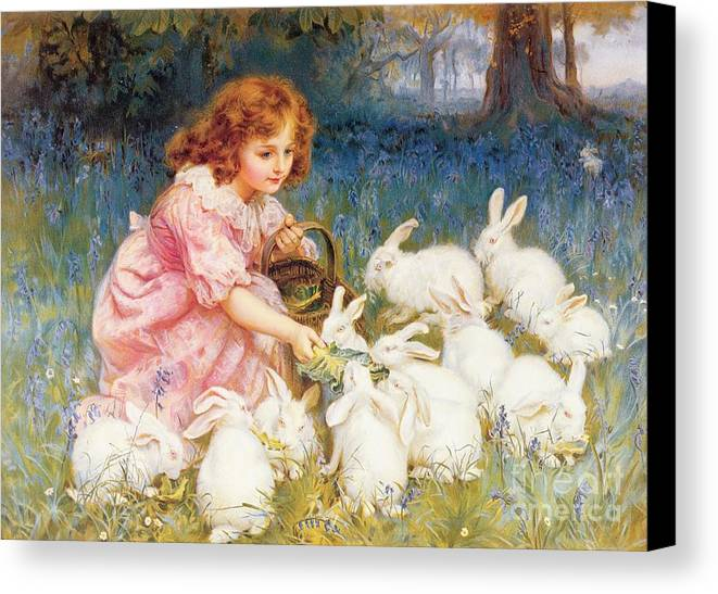 Feeding Canvas Print featuring the painting Feeding The Rabbits by Frederick Morgan