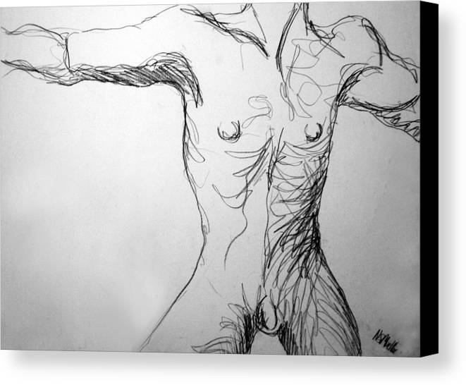 Figure Canvas Print featuring the drawing Figure Drawing 5 by Nancy Mueller