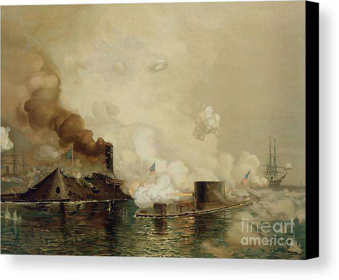 Armored; Warships; Battle; Facsimile Print; Naval; John Ericsson; Turret; Boat Canvas Print featuring the painting First Fight Between Ironclads by Julian Oliver Davidson