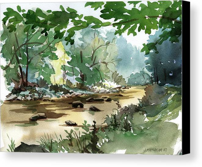 Fly Fishing Stream Canvas Print featuring the painting Fisherman's Paradise by Jeff Mathison