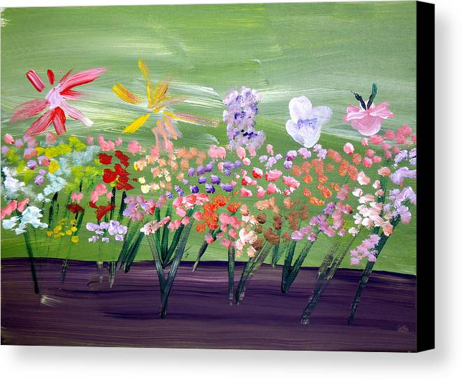 Flowers Canvas Print featuring the painting Flower Garden by Jeff Caturano