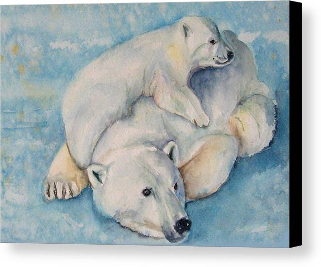 Polar Bears Canvas Print featuring the painting Frosty Baby by Gina Hall