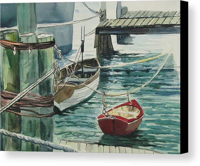 Galveston Canvas Print featuring the painting Galveston Boats Watercolor by Judy Loper
