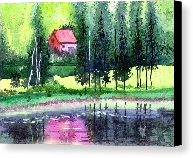 Landscape Canvas Print featuring the painting Guest House by Anil Nene